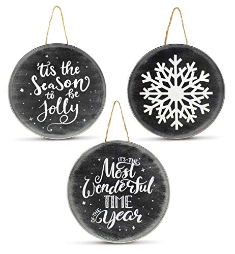 AuldHome Chalkboard Sign Ornaments (3 Pack); Jumbo Blackboard Style Round Metal Christmas Signs, Each 8-Inch Diameter