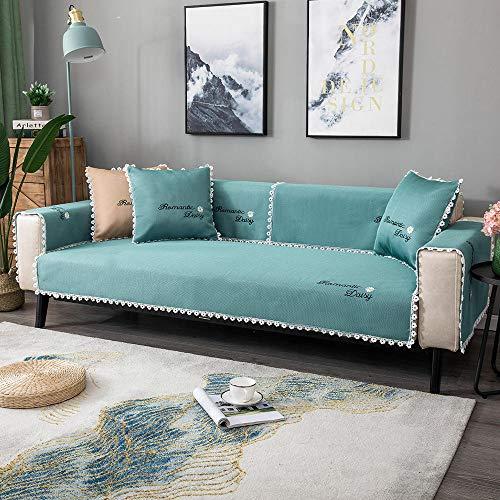 Homeen Funda para sofá de dormitorio de niña, funda protectora de sofá de verano, funda universal para sofá de 2/3/4 plazas, sofá de esquina, sofá en forma de L, verde _110 x 160 cm