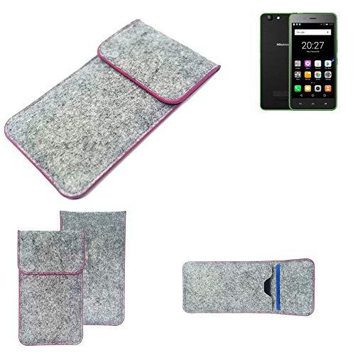 K-S-Trade® Handy Schutz Hülle Für Hisense Rock Lite Schutzhülle Handyhülle Filztasche Pouch Tasche Case Sleeve Filzhülle Hellgrau Pinker Rand