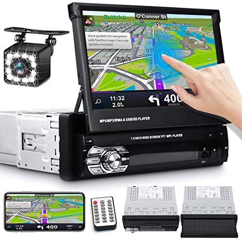Autoradio Bluetooth Navigazione GPS Europa 1 din, lettore da 7 pollici, touch screen pieghevole e retrattile Collegamento a specchio Memoria a mani libere Registra FM USB SD Controllo del volante In
