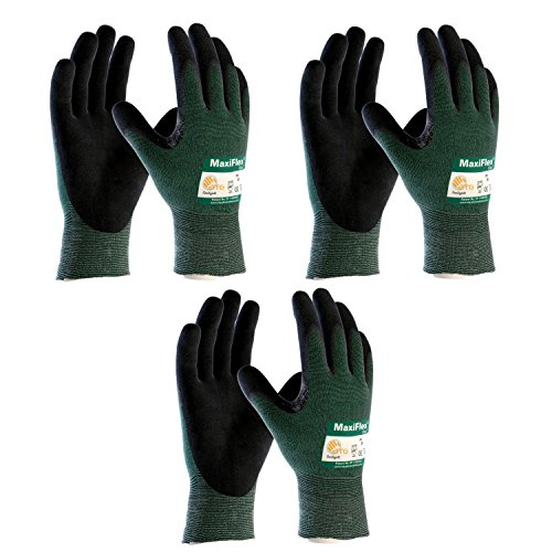 3 Pack MaxiFlex Cut 34-8743 Cut Resistant Nitrile Coated Work Gloves with Green Knit Shell and Premium Nitrile Coated Micro-Foam Grip on Palm & Fingers. Size (XX-Large) (3) by ATG