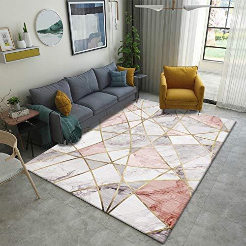 CMwardrobe Moderne Tapis Salon Chambre Salle à Manger Vinyl Tapis Déco Marbre Blanc géométrique Or Rose Antidérapant Grand/Moyen Area Rug 1.2×1.6M