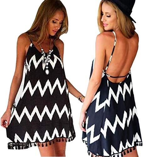 Voiks Women Fashion Dress Stripes Causal Loose Chiffon Sling Dress Dresses