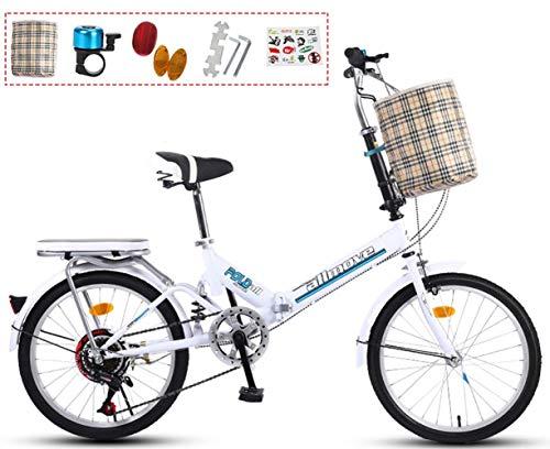 Coche de Bicicleta Plegable de 20 Pulgadas de 20 Pulgadas de Choque de Choque de Frenos y Mujeres Mini Bicicleta de montaña portátil Ultra Ligera para Adultos (Color : White)