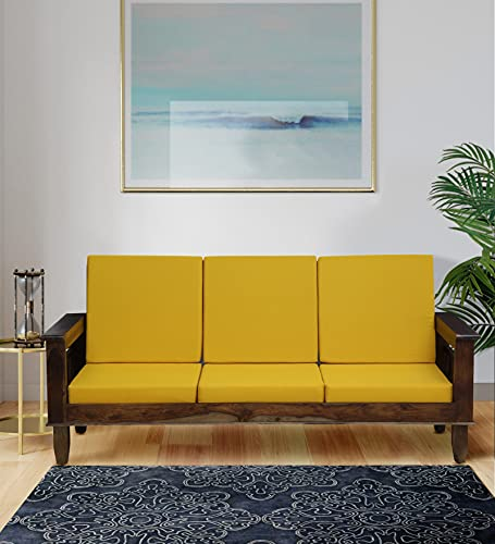 Woodsworth by Pepperfry - Chicane Solid Wood 3 Seater Sofa in Provincial Teak Finish