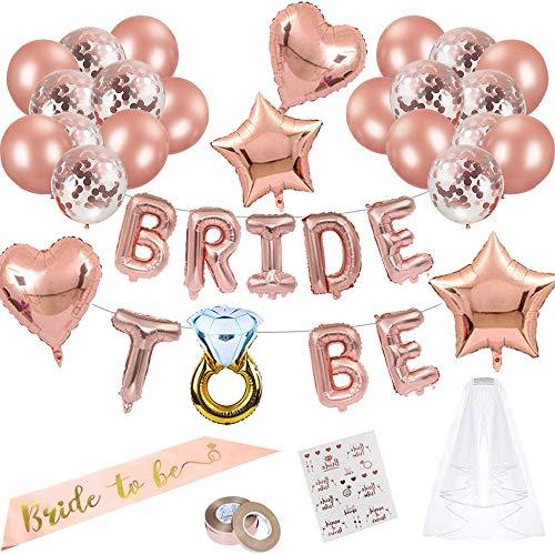 JGA Deko Ballons Rosegold Set, Braut to Be Deko, Junggesellenabschied Deko mit Banner Folienballons Rosegold, Schärpe, Braut Tattoo, Rosegold Luftballons und Brautschleier