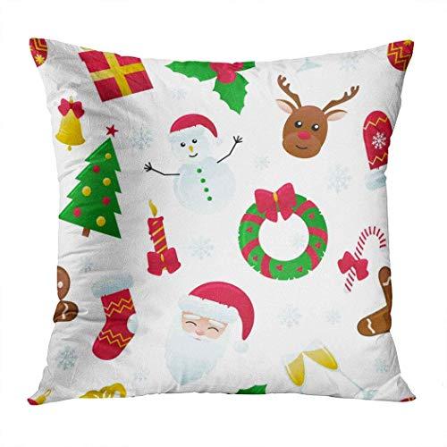 Fundas de almohada, diseño de bola de pino, Papá Noel, pan de jengibre, campana, corona de dulces, una funda de cojín, fundas de almohada para deporte, gimnasio, atletismo, 45 x 45 cm