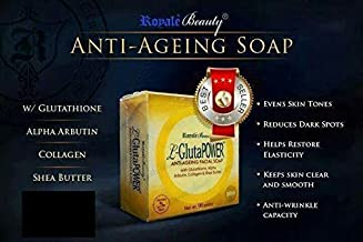 L-Gluta Power ANTI-AGEING FACIAL SOAP with Glutathione,Alpha Arbutin, Collagen & Shea Butter ROYALE BEAUTY ( 1 Bar Only )