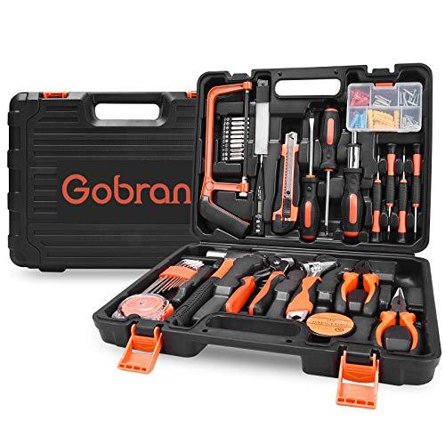 Werkzeugset im Koffer Haushalts Werkzeugkoffer 100 Teilig,Gobran Multifunktion Werkzeugkasten für Den Heimgebrauch mit Hammer Zange Schraubendreher Messer Schlüssel Maßband Elektrischer Stift