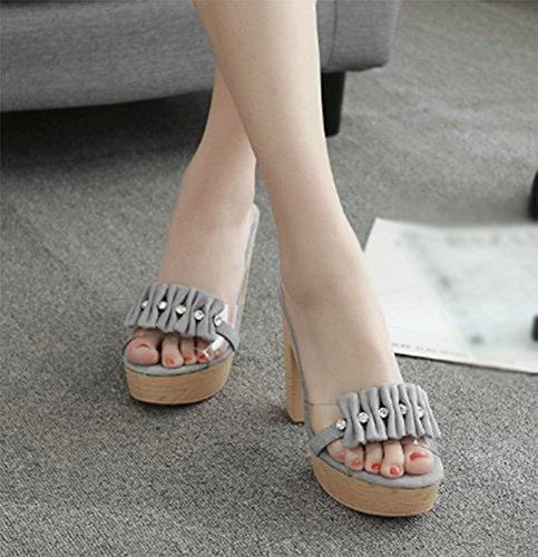 SCLOTHS Tongs Femme Chaussures L'été Piscine des épais avec Diahommet Artificiel Talon Haut