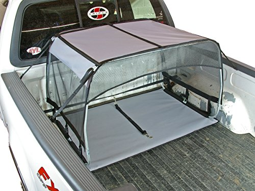 Bushwhacker - K9 Canopy w/Pad and Tether for Truck Bed Dog Shade Shelter Kennel Hound Hut Tent Leash Pup Restraint Carrier Lead Barrier Vehicle Crate Harness House Cover Chain Tie Out
