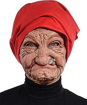 Seasonal Visions International Halloween Old Nana Latex Mask with Head Scarf