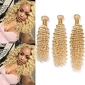 Tony Beauty Hair #613 Blonde Deep Wave Human Hair Bundles Russian Blonde Virgin Hair Weaves Bleach Blonde Deep Wavy Human Hair Weft Extensions 3/4 Bundles Lot Mixed Length  12 14 16