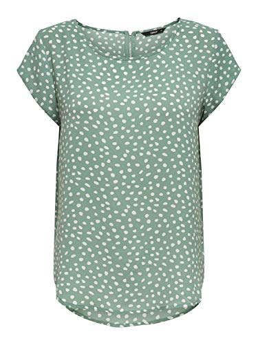 ONLY Womens ONLVIC SS AOP TOP NOOS WVN T-Shirt, AOP:Big KARO DOT Chinois Green, 40