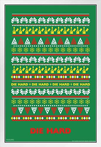 Die Hard Knit Ugly Sweater Pattern Action Movie Christmas John McClane Nakatomi Plaza Minimalist White Wood Framed Poster 14x20