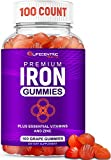Iron Gummies for Adults & Kids | Biotin Zinc Vitamin B Folic Acid Vitamin Gummies | Vegan Non-GMO Gluten Free Blood Builder Anemia Supplements | Tasty Energy Boosting Iron Supplement for Women & Men