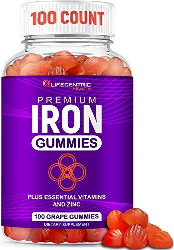 Iron Gummies for Adults and Kids | Biotin Zinc Vitamin B Folic Acid Vitamin Gummies | Vegan Gluten Free Blood Builder Anemia Supplements | Tasty Energy Boosting Iron Supplement for Women and Men