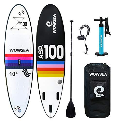 WOWSEA Tabla Hinchable Paddle Surf/Sup Paddel Surf con Inflador, Mochila, Remo, Correa Elástico Flexible - 305 * 80 * 12cm