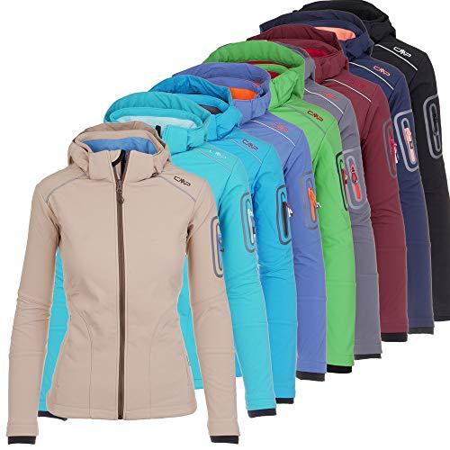 CMP Softshell Jacke Damen Franceska | Fleece-gefüttert | Wasserdicht | mit Kapuze | 8000 mm Wassersäule | Rund-Um-Schutz, Farbe:Navy-Lime, Größe:42