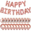 PartyForever Rose Gold Happy Birthday Balloons 16inch Letters Banner Birthday Party Decorations and Supplies for Girls and Women