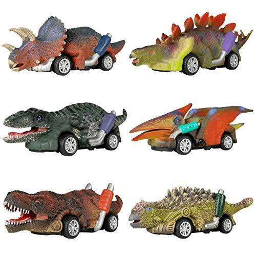 恐竜のおもちゃのリターンカー、6包の恐竜のおもちゃの車、6歳以上の男の子のおもちゃ、プルバックカー GreenKidzの恐竜ティラノサウルスゲーム