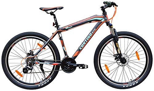 "Cyclo India TATA Stryder Model Contino 27 H Speed Bicycle Tyre Road Bike, Age Range 15 + Years Old, Person Height 5.5-6.5 Feet, Cycle, 27.5"" Inches, Colour Matt Grey Orange, Semi Installed"