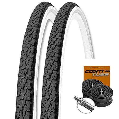 KENDA Set: 2 x K146 Fahrrad Trekking Reifen schwarz-weiß 37-622 + Conti SCHLÄUCHE Dunlopventil 28