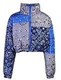 Tanming Women's Winter Warm Bandana Print Puffer Cropped Jacket Bubble Short Coat(Blue-S)