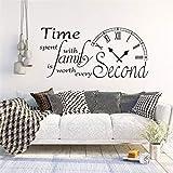 57x121 cm Etiqueta de la pared de inspiración Cita Reloj Tiempo pasado con la familia vale la pena cada segundo tatuajes de pared cocina sala de estar decoración
