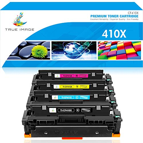 True Image Compatible Toner Cartridge Replacement for HP 410X 410A M477fnw Color Laserjet Pro MFP M477fdw M477fdn M477 M452dn M452nw M452dw M452 M377dw Printer (Black Cyan Yellow Magenta, 4-Pack)