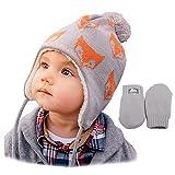 Jan & Jul baby toddler warm fall WINTER HAT & Mitten fleece lined unisex (S: 3-9...