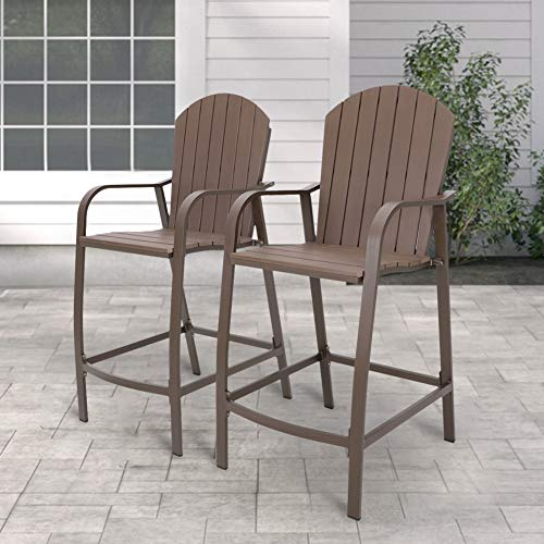 Crestlive Products Patio Wood Bar Stools Counter Height Chairs All Weather Furniture with Heavy Duty Aluminum Frame & Polywood in Brown Finish for Outdoor Indoor, Pack of 2 (Brown)