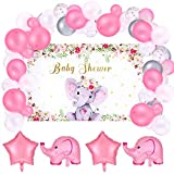 Pink Elephant Theme Decorations Includes Pink Elephant Theme Baby Shower Backdrop Star Elephant Foil Balloon Confetti Balloon Latex Balloon for Baby Shower Birthday Party Decoration, Set of 75 Pieces