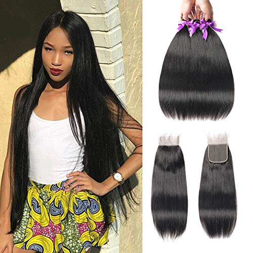Beaudiva Hair 8A Brazilian Virgin Hair 3 Bundles with Closure Brazilian Hair Weave 100% Unprocessed Brazilian Human Hair With Free Part Lace Closure… (22 24 26+20inch, Bundles With Closure)