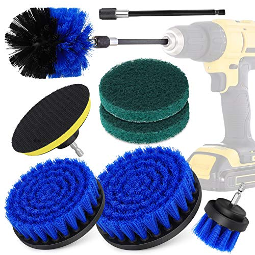 Cepillo Taladro Eléctrico 8 Pieces, hicoosee Cepillo Limpieza Multiusos para Automóvil, Alfombra, Baño, Piso, Azulejo