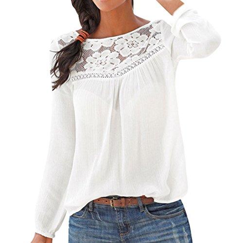 ESAILQ Damen Lose Asymmetrisch Sweatshirt Pullover Bluse Oberteile Oversized Tops T-Shirt(M,Weiß)