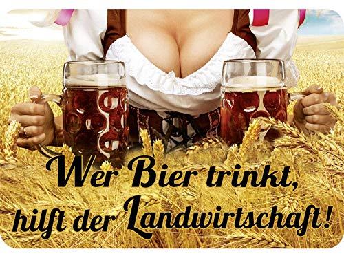 Blechwaren Fabrik Braunschweig Kulthänger Wer Bier trinkt hilft der Landwirtschaft KH041