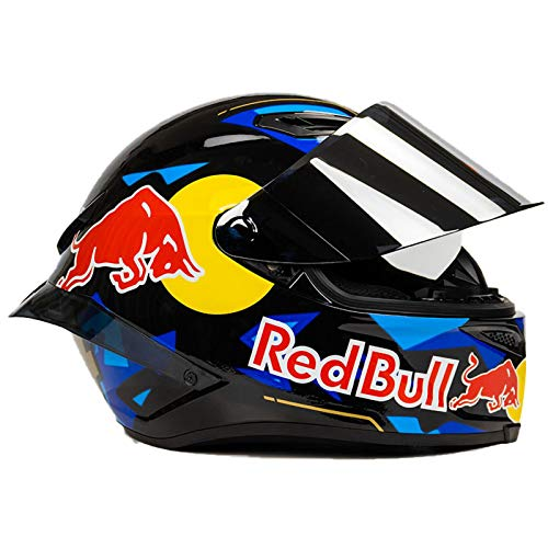 TKTTBD Casco Moto ECE Homologado Casco De Moto Integral Red Bull para Mujer Hombre Adultos Protección para Carreras Al Aire Libre Protección Solar Gorras D,M