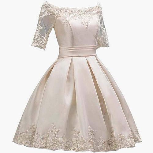 Vestido de Noche de una línea para muñer Ailin Home (Color   Champán, Tamaño   14)