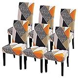 Ryoizen Funda para Sillas Comedor Pack 6 Fundas Sillas Comedor Cubiertas Elásticas de Sillas Antideslizante Universales para Boda Hotel Decor Fácil de Limpiar Duradera
