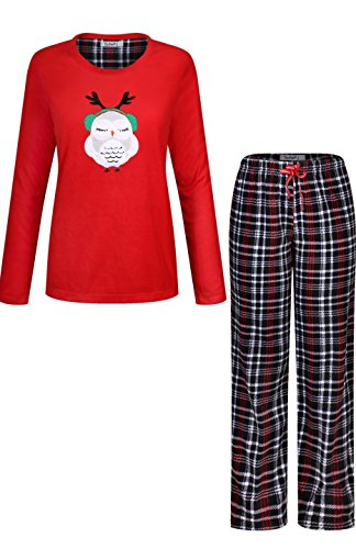 SofiePJ Women's Warm Plush Soft Fleece Pajama Gift Set Red Black XL