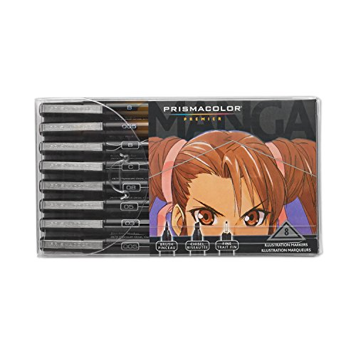 Prismacolor Premier Manga Illustration Markers Assorted Tips Black amp Sepia 8Count