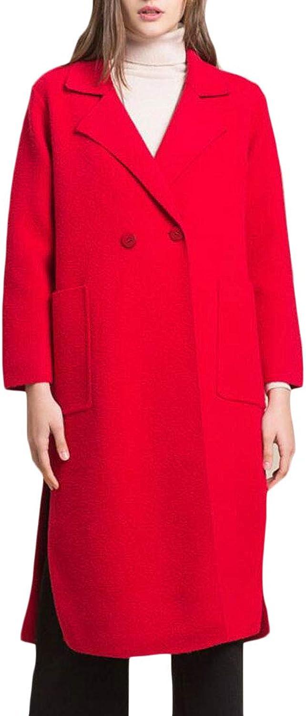 JSYCA Women's Overcoat Woolen Blend Slim Lapel Collar Peacoats