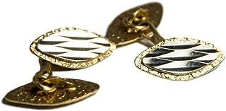 KIBO Gioielleria Gemelli da Polso Artigianali in Oro 18K 750 Cufflink ovali
