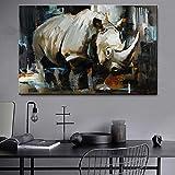 supmsds Pintura Digital DIY Rinoceronte Animal Pintura Digital de Bricolaje por Kits Completo Manualidades del Arte de 40X60CM(Sin Marco)