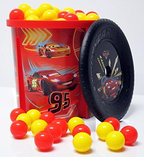 Bällebad24 Disney Cars Spielzeug Tonne + 200 Bälle rot gelb, ( Tüv geprüft und Zertifiziert 2019 ) Bällchenbad, Bällebad Bälle, Baby Bälle, Plastebälle ohne gefährliche Weichmacher