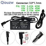 65W/45W/40W Adapter Charger Power Cord for Acer Chromebook 15 14 13 11 C720 C720P C730 C730E C731 C731T C735 CB3 CB5 CB3-111 CB3-131 CB3-132 CB3-431 CB3-531 CB3-532 CB5-132T CB5-311 CB5-311P CB5-571