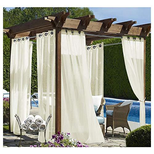 Outdoorvorhänge mit Ösen Transparent Pavillon Vorhang Weiße Wasserdicht Schals Gardinen 2er Set Voile Vorhänge für den Außenbereich (Farbe : Beige, Größe : 2 Pannelli(L250*A270cm))