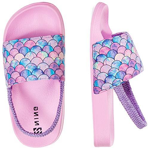 Sandalias Niños Chanclas,Zapatos de Ducha Niña Zapatos de Playa(26/27EU Escamas de Pescado-Rosa)