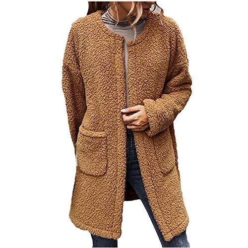 VESNIBA Chaqueta de invierno para mujer, de franela, de forro polar marrón Large